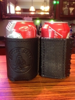 Gettin Salty Logo Black Leather Koozie with Fire Hose