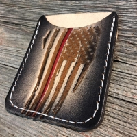 Thin Red Line Flag Leather Capsule Wallet