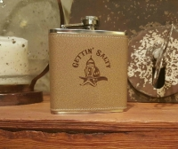 Gettin Salty Tan Rawhide Stainless Flask